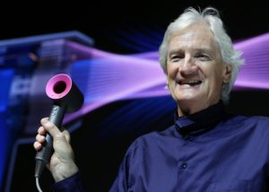 Dyson Ltd. founder James Dyson introduces the Dyson Supersonic hair dryer in Tokyo, Japan, Wednesday, April 27, 2016. The British manufacturer will launch the product in Japan on Thursday, April 28, at a price of 48,600 yen. (Jiji Press/Kazuo Horiike) [ Rechtehinweis: (c) dpa ]